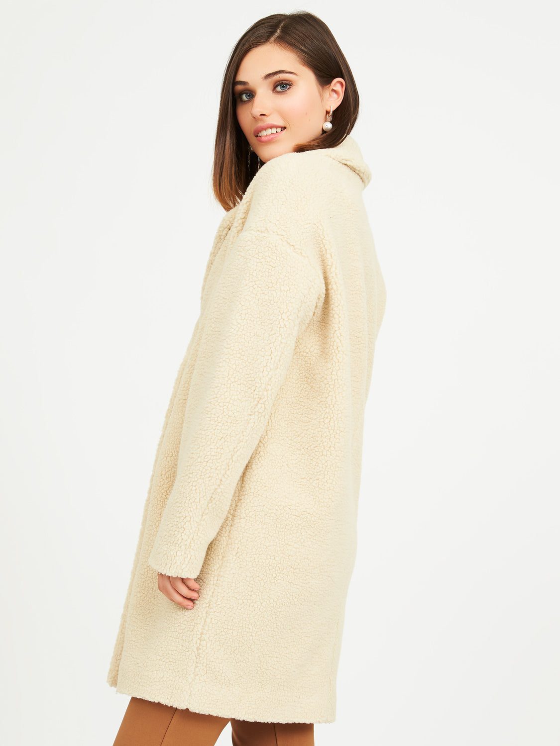 2-Button Long Teddy Coat