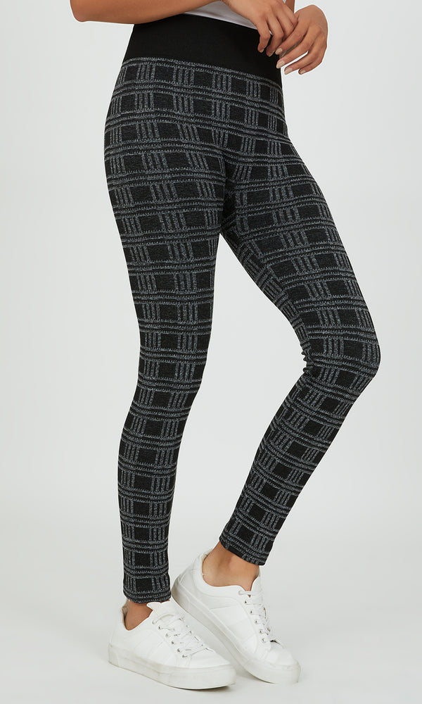 Fleece Lined Plaid Legging