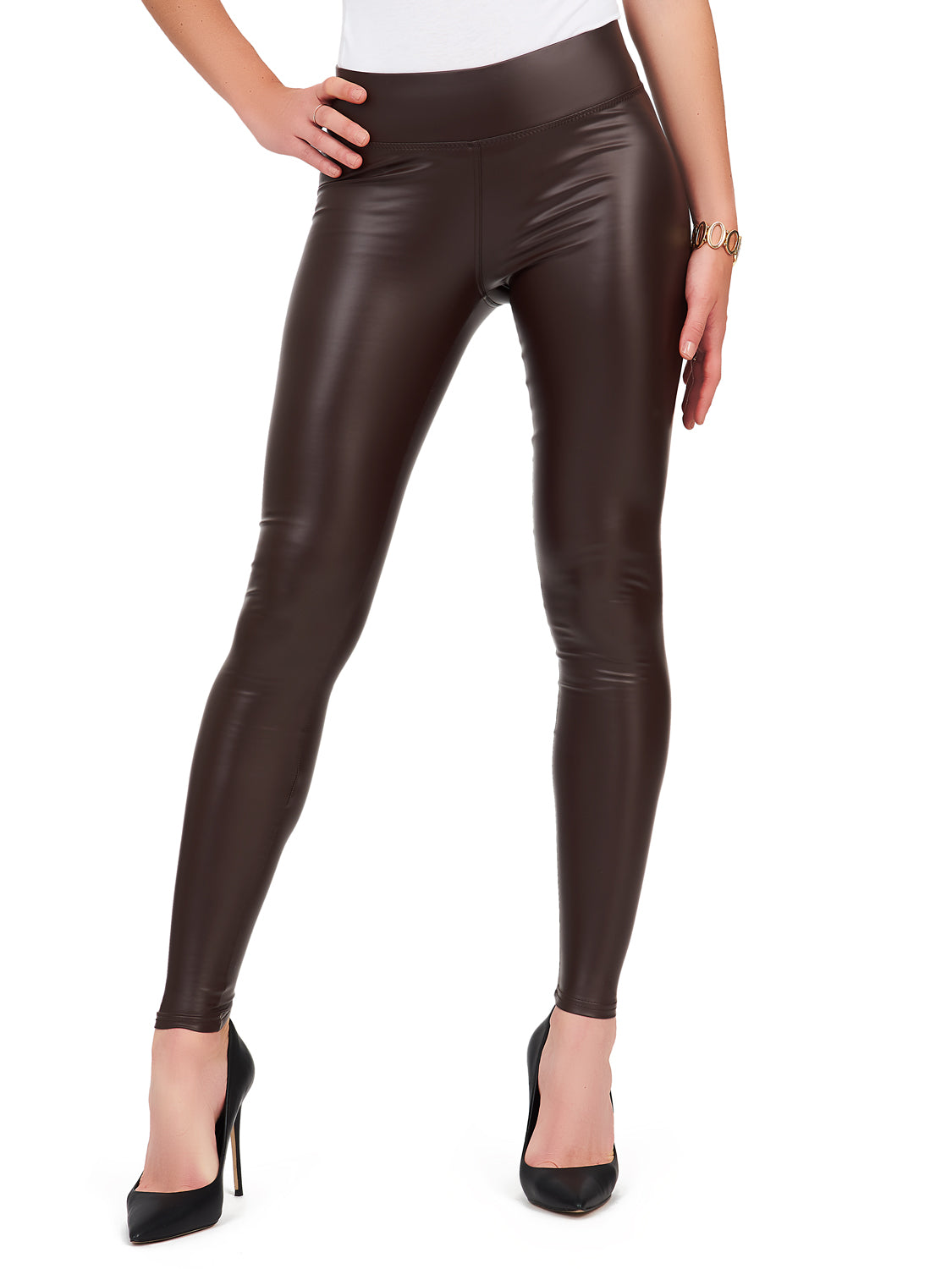 Faux Leather Wide Waist Legging