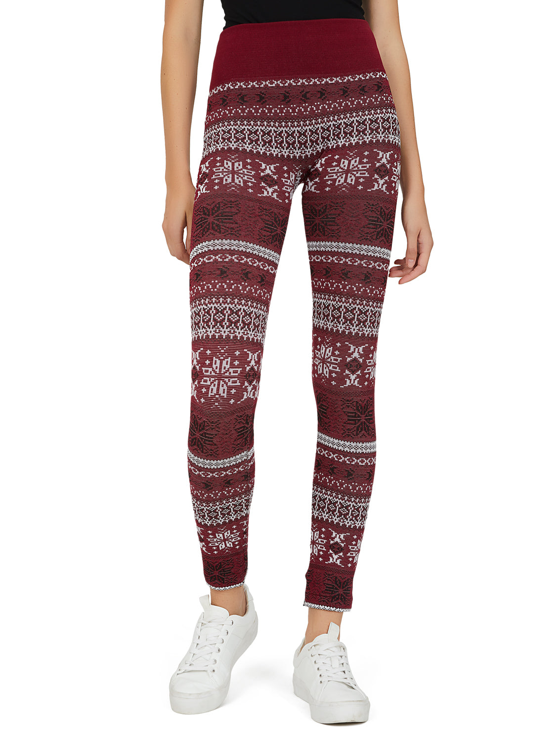 Fair Isle Jacquard Knit Fleece Lined Leggings