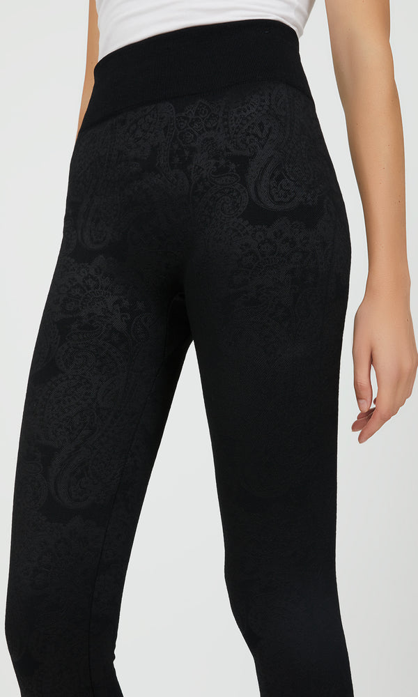 Fleece Lined Paisley Print Leggings