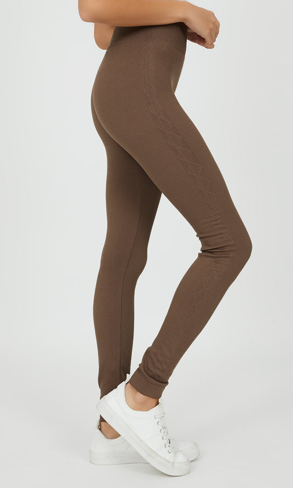 Fleece Lined Jacquard Rib Knit Leggings