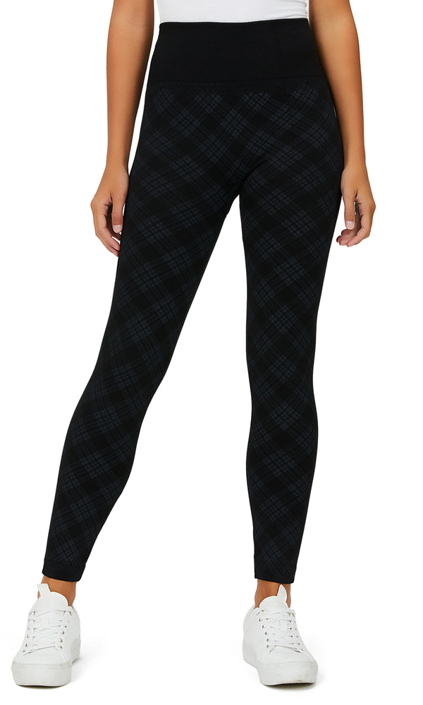 Bias Plaid Fleece Lined Leggings