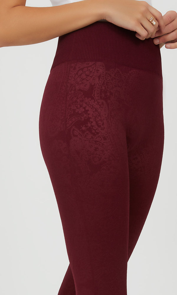 Printed Paisley Fleece Lined Legging