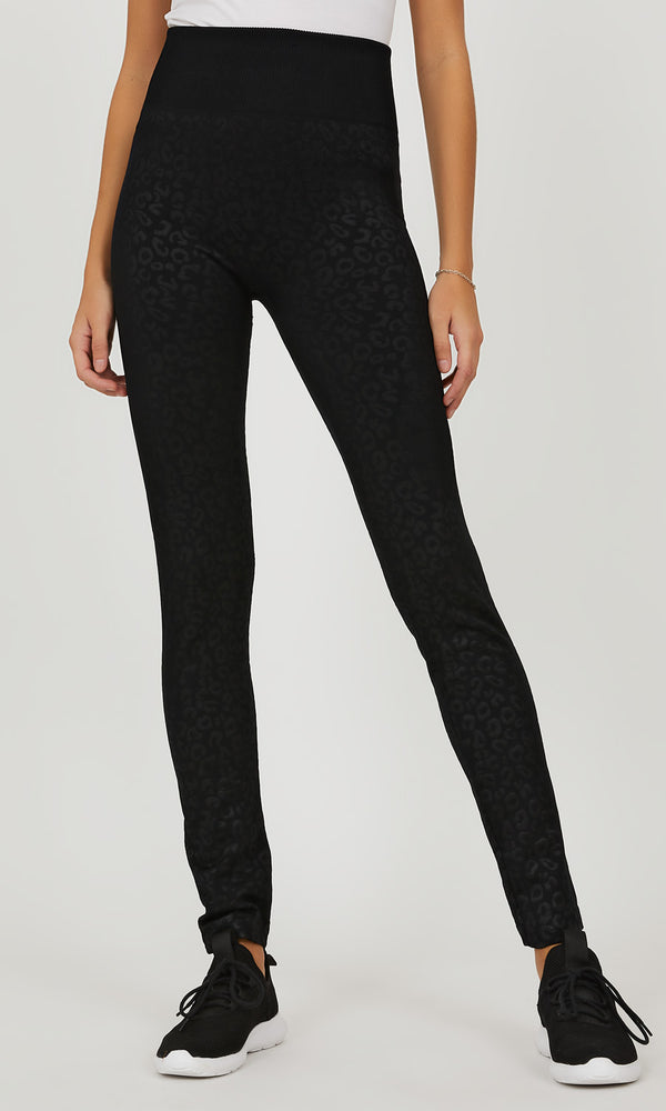 Tonal Animal Print Fleece Lined Legging
