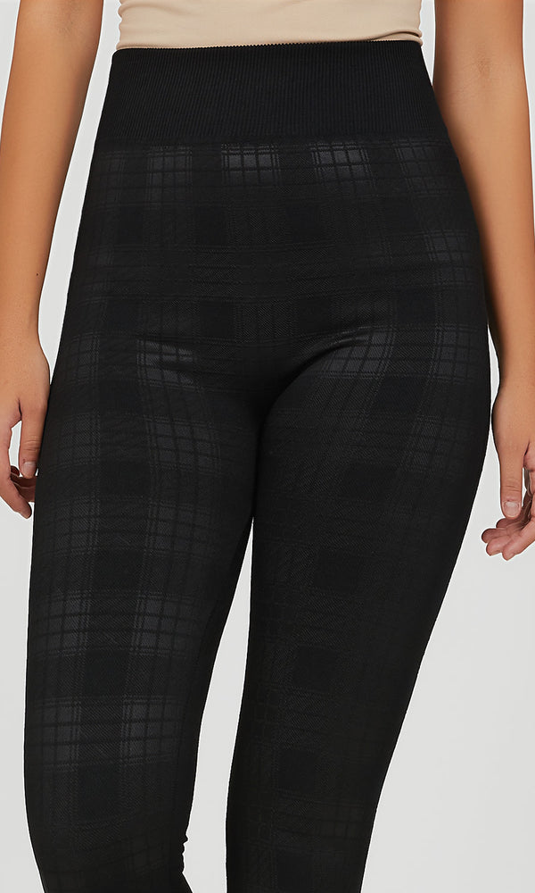 Legging sans couture à carreaux doublé en molleton