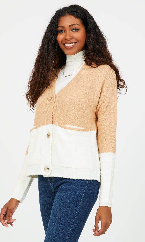 V-Neck Colour Block Boxy Cardigan