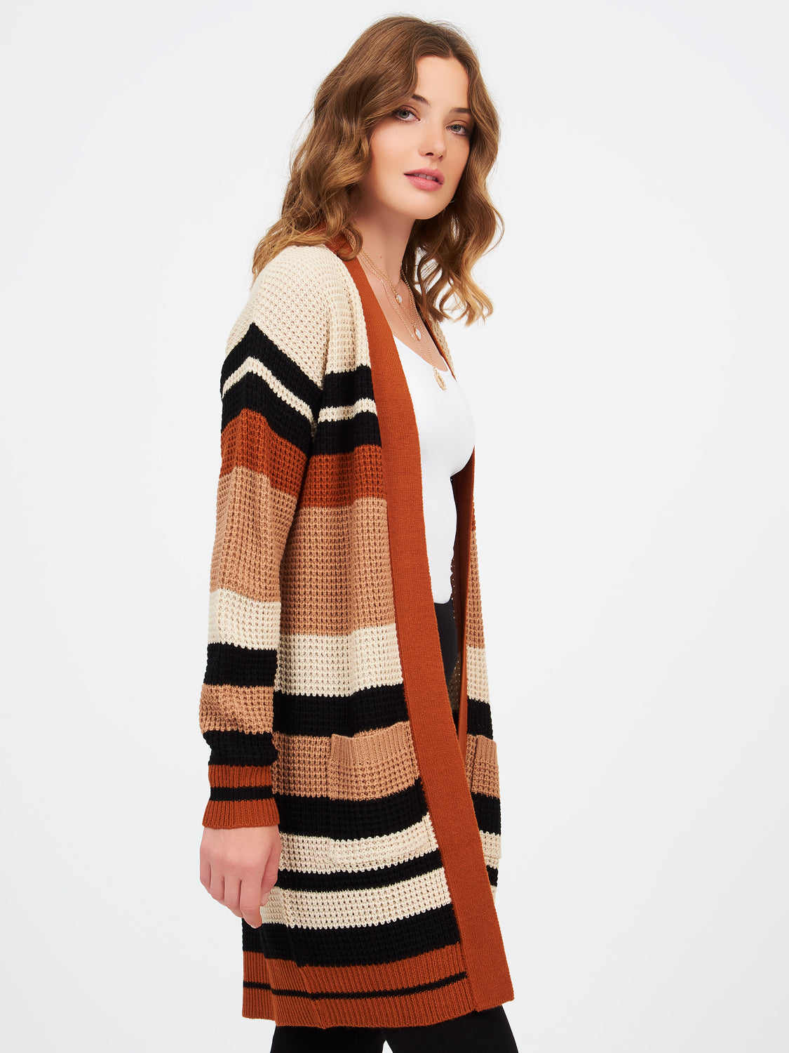 Striped Drop Shoulder Long Sleeve Duster