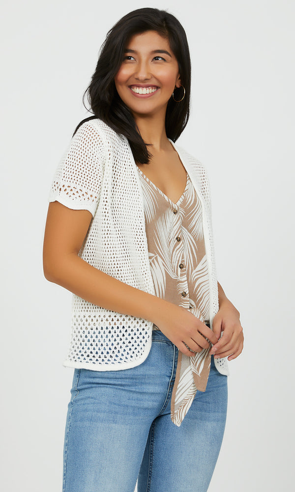 Open Front Pointelle Cardigan Duster