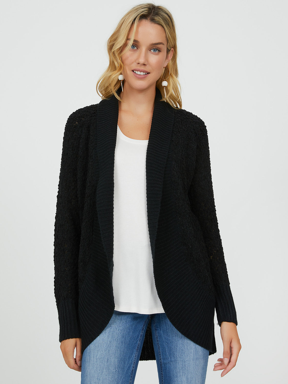 Enveloping Popcorn Sweater Duster