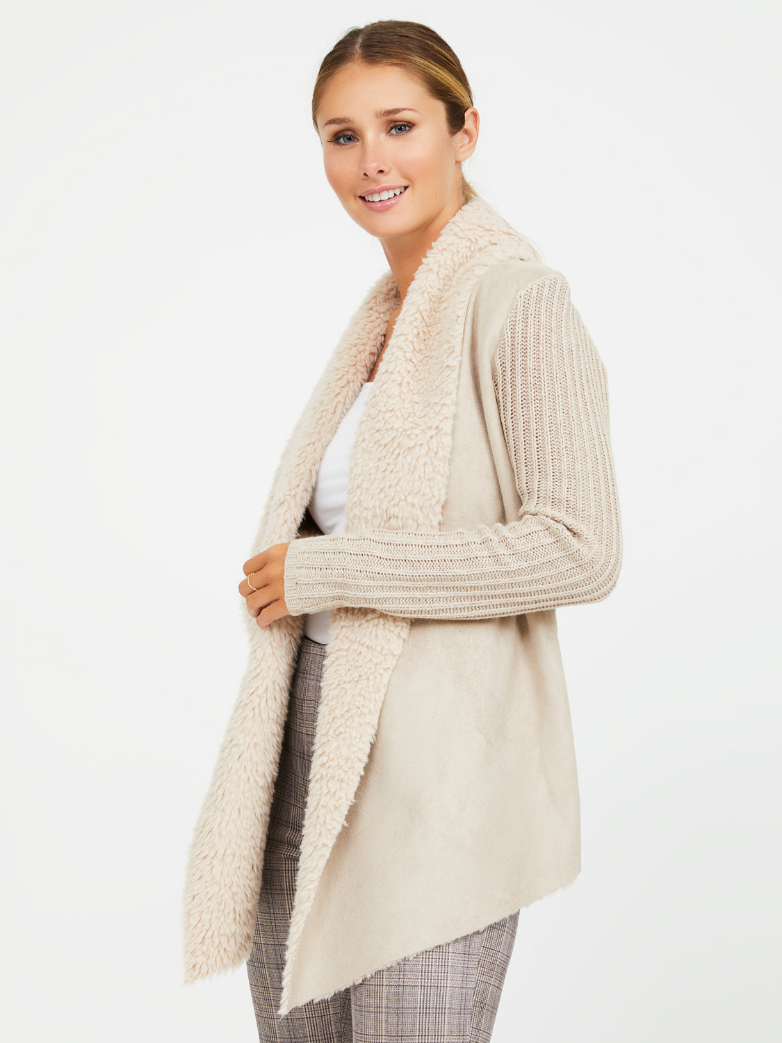 Sherpa Rib Knit & Suede Duster