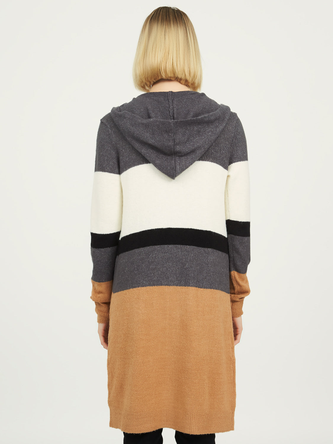 Colour Block Sweater Duster With Hood