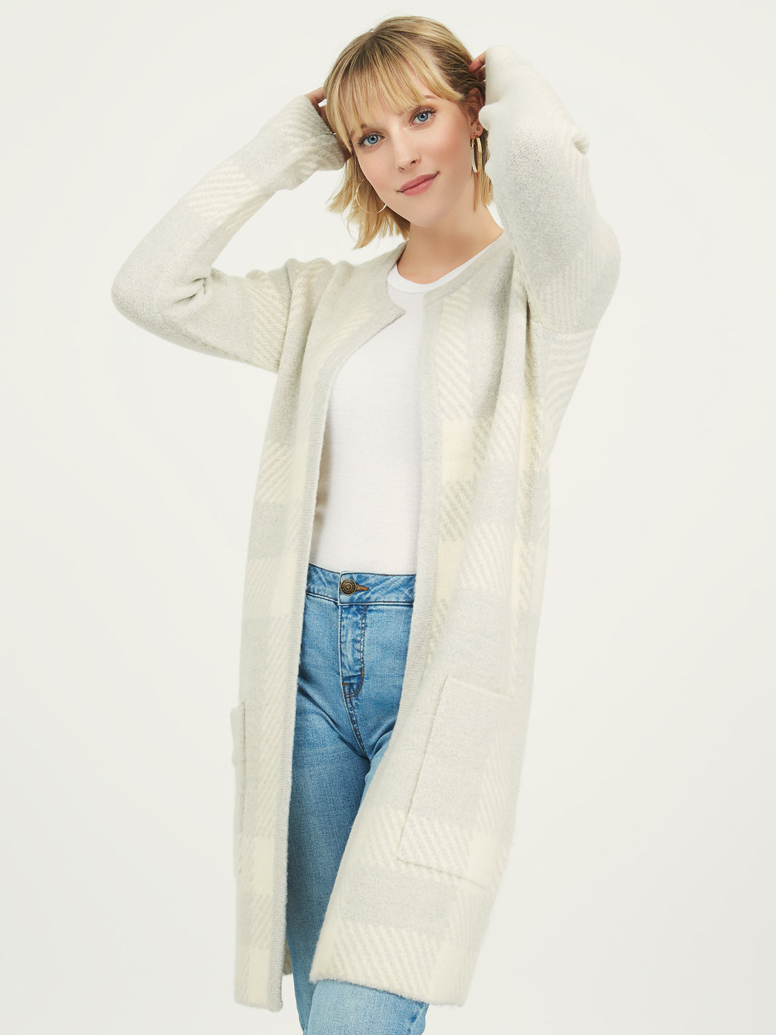 Patterned Knit Sweater Duster