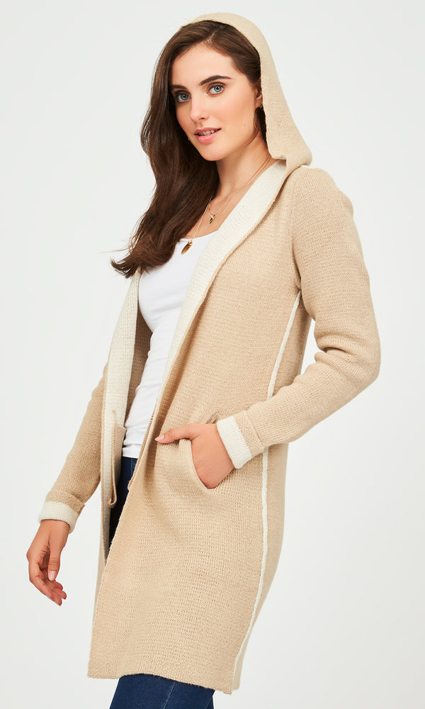 Manteau-cardigan double face à capuche