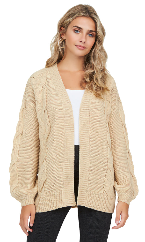 Long Sleeve Oversized Cable Knit Duster