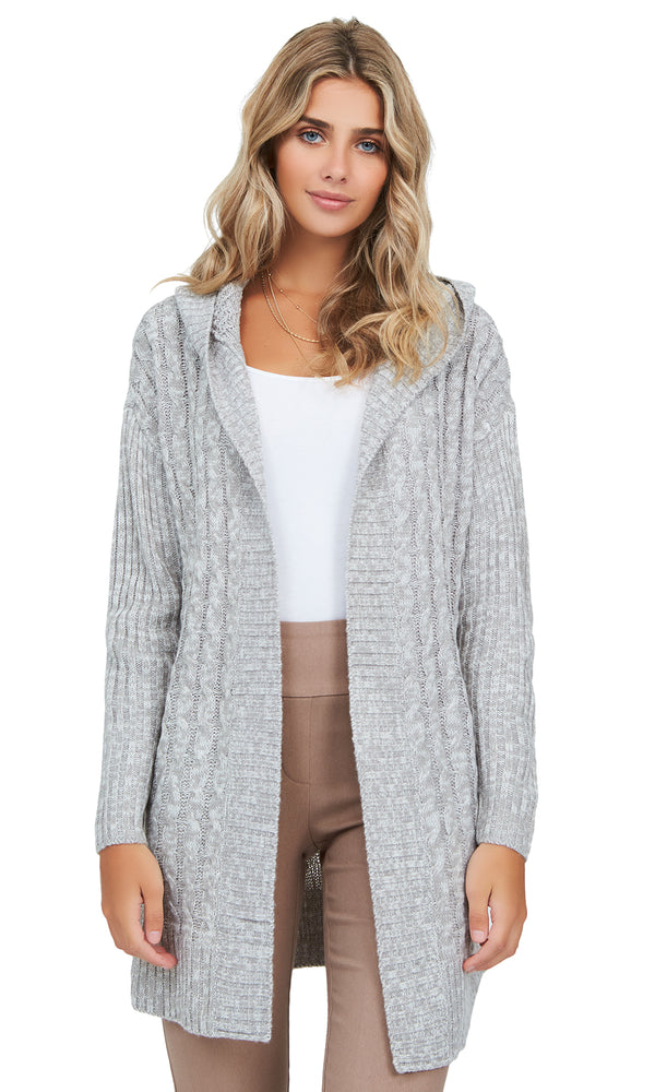 Hooded Cable Knit Sweater Duster