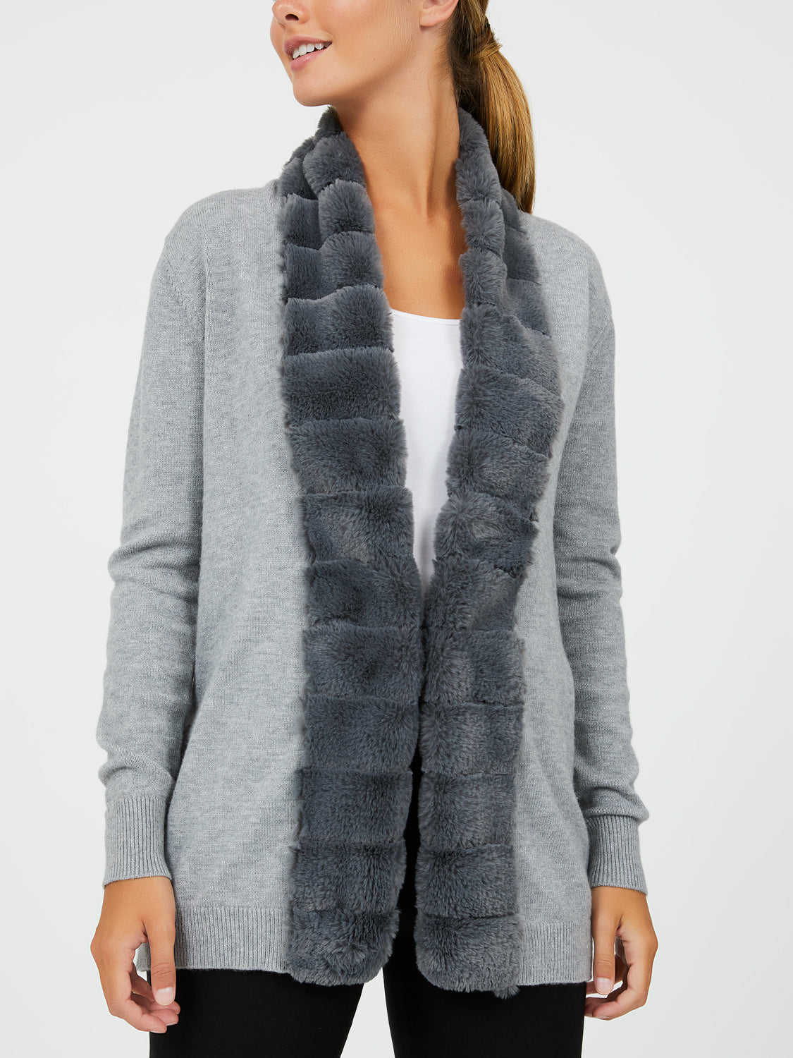 Faux Fur Trim Sweater Knit Duster