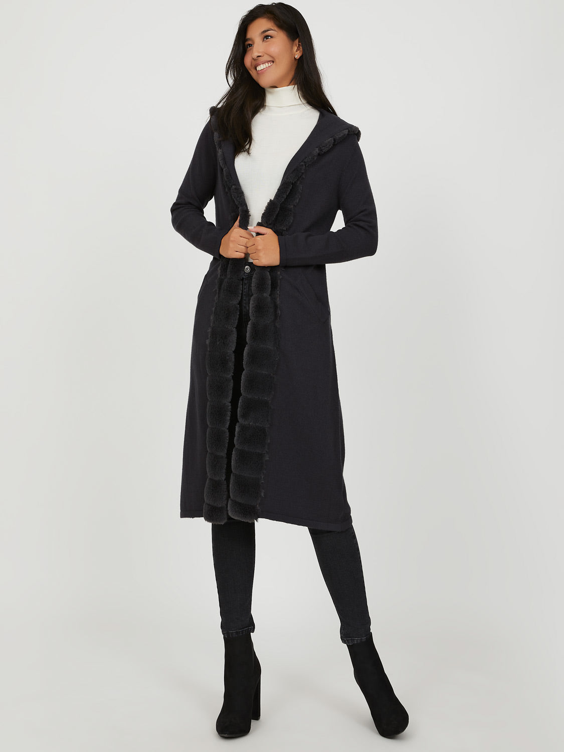 Hooded Faux Fur Duster