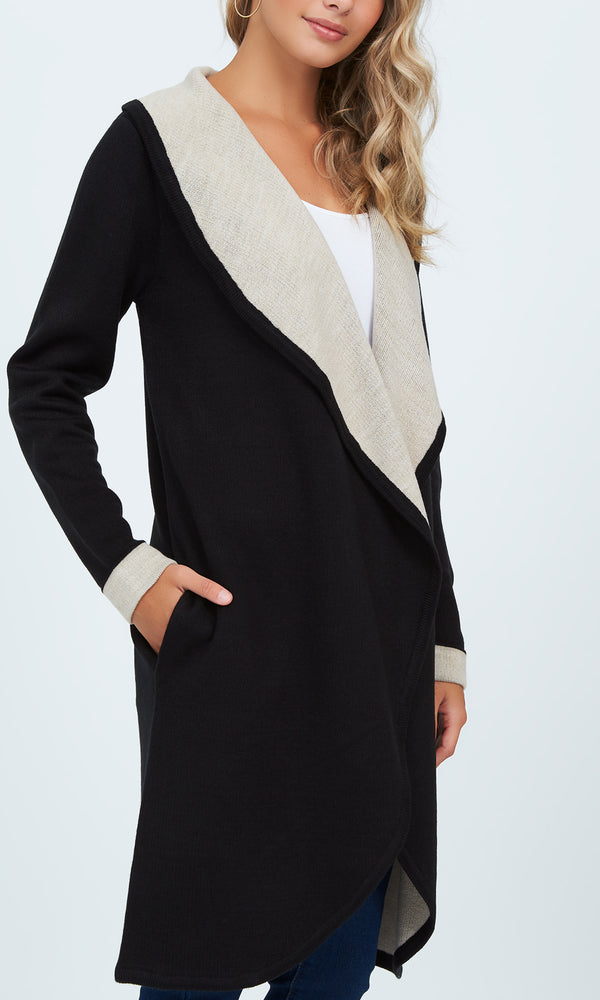 Manteau-cardigan double face à col châle