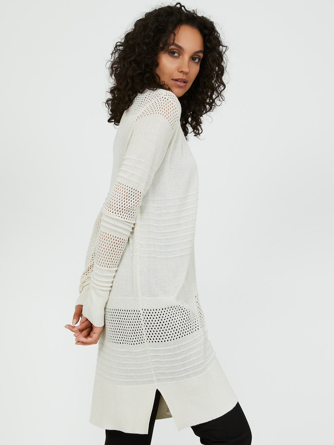 Long Sleeve Metallic Knit Pointelle Duster
