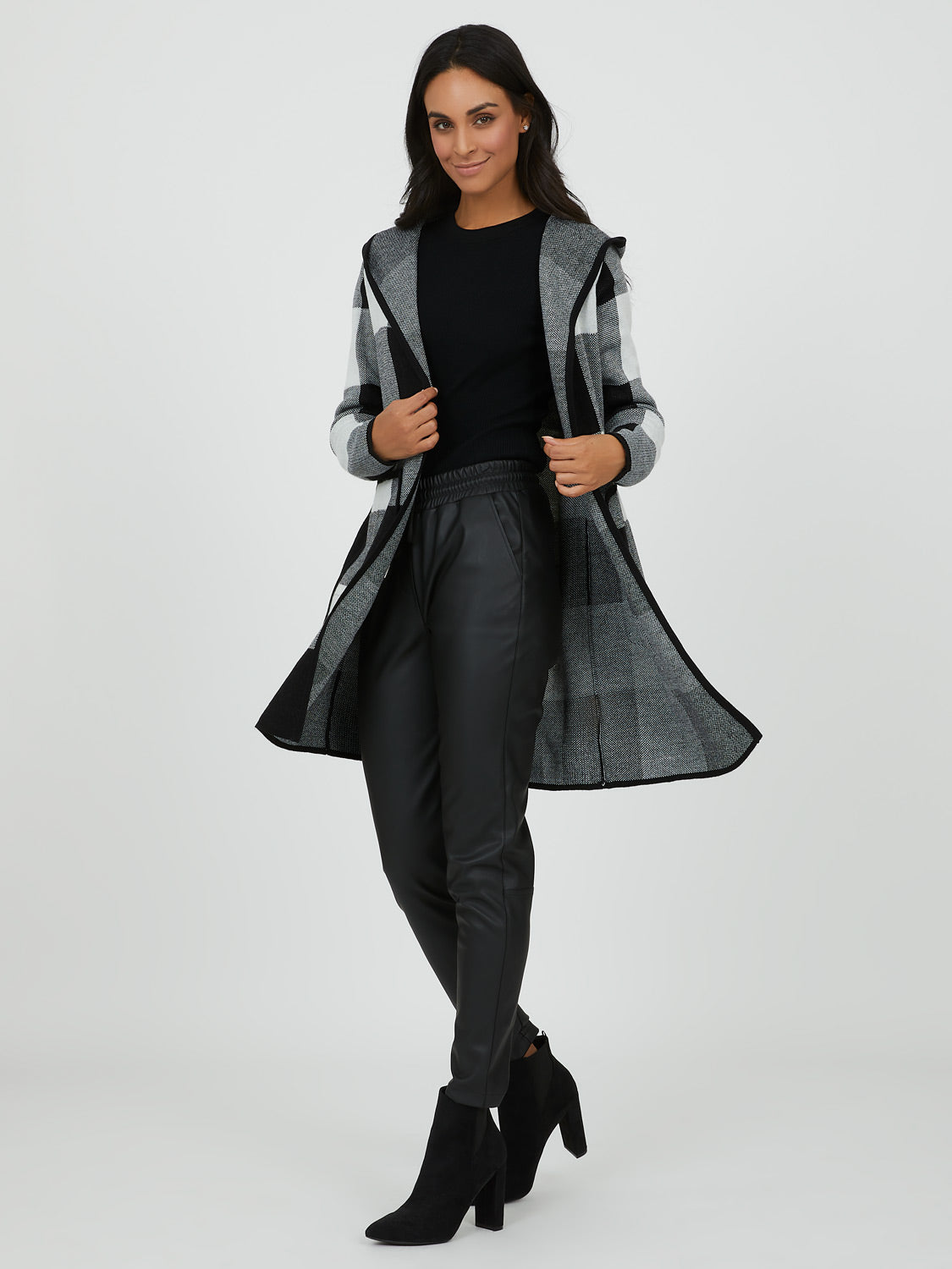 Hooded Plaid Coatigan