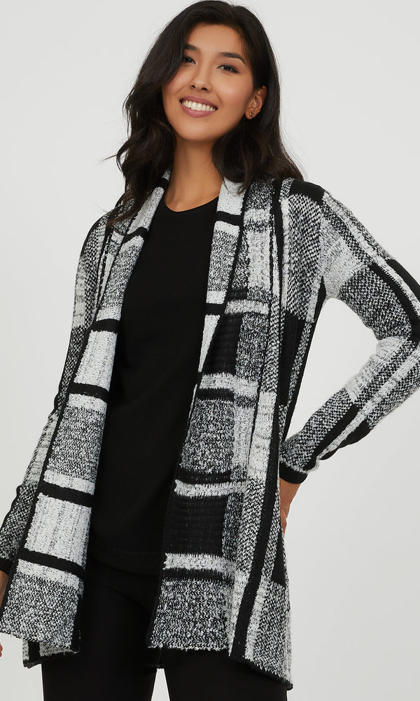 Colour Block Jacquard Knit Duster
