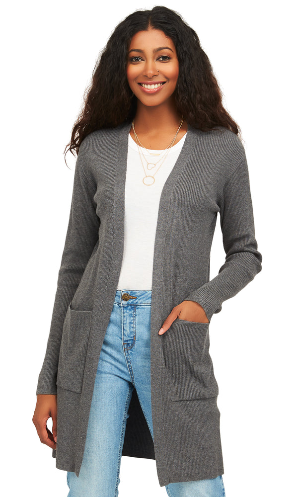Long Sleeve Rib Sweater Knit Duster