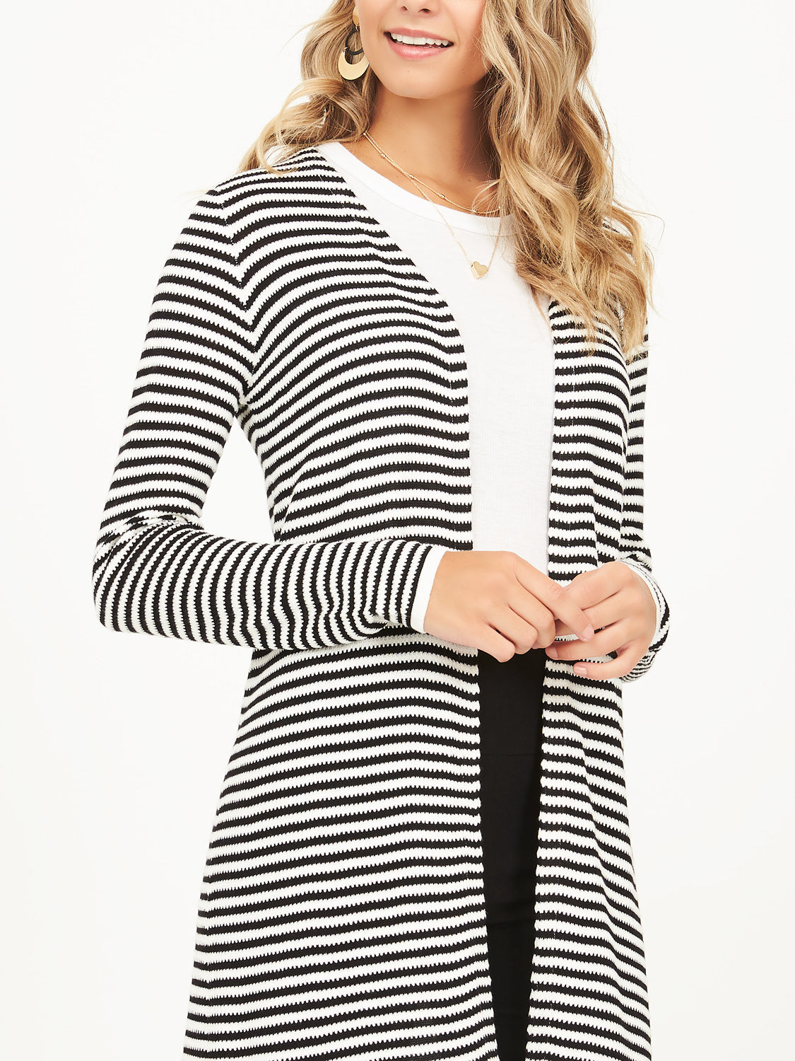 Long Sleeve Striped Sweater Knit Duster