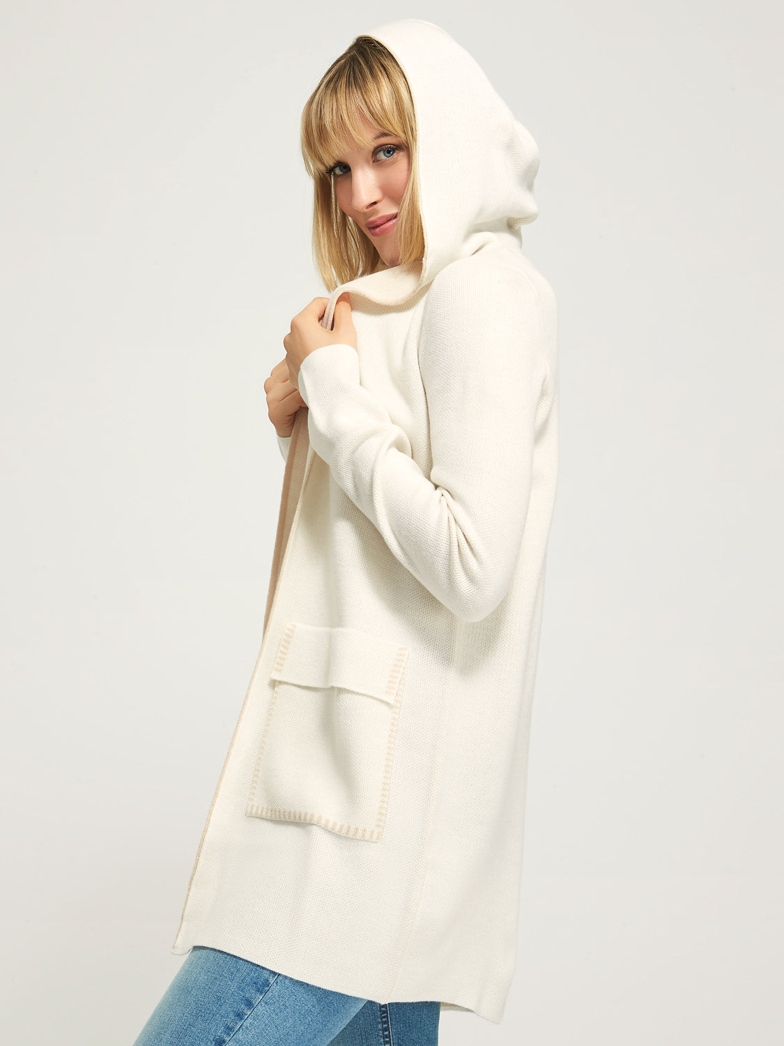 Knit Sweater Duster With Hood