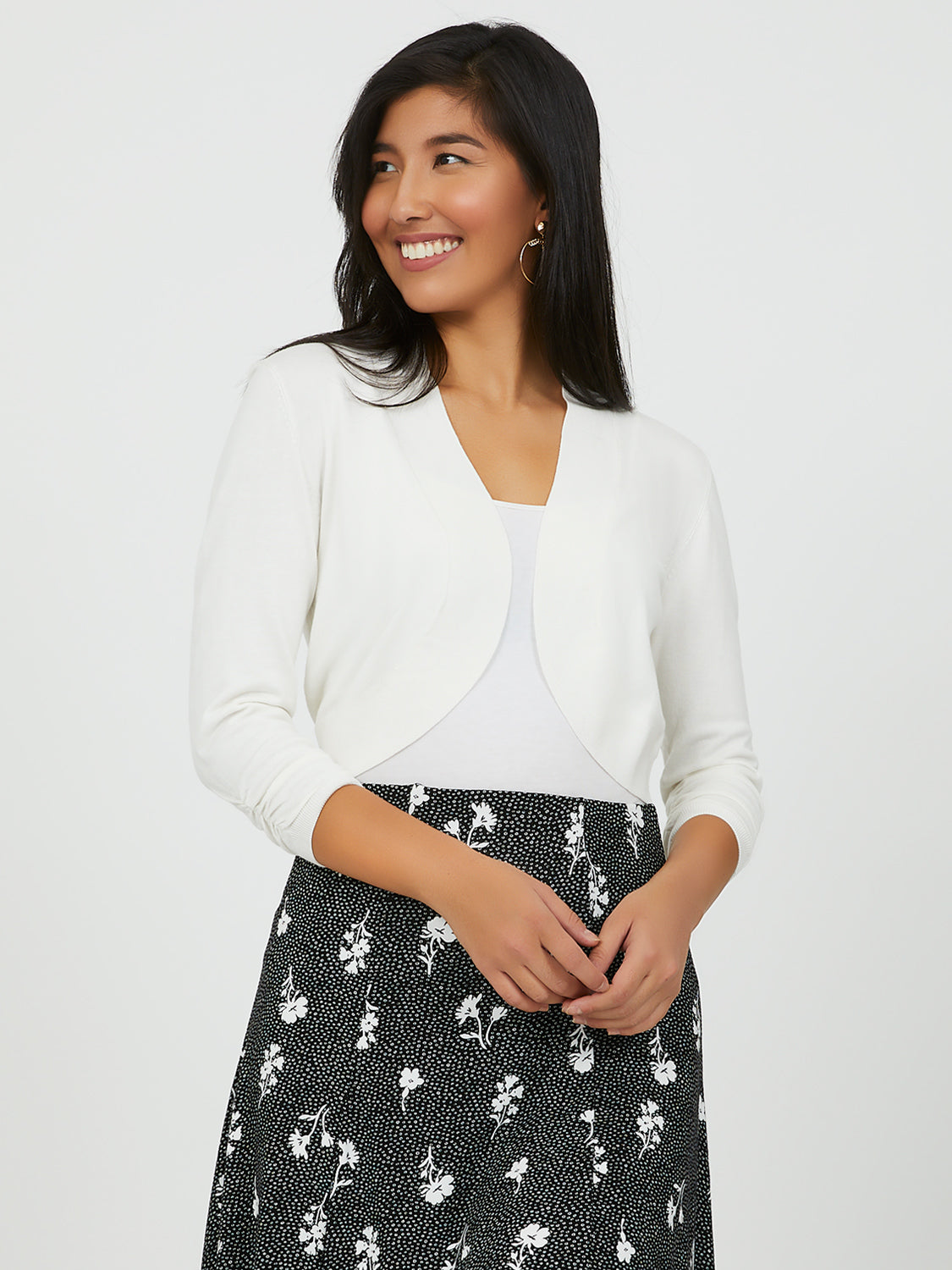 Open Front Cropped Sweater