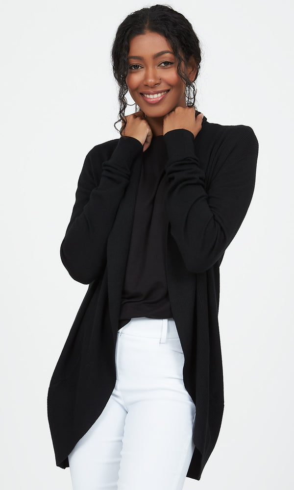 Ribbed Sweater Knit Cocoon Duster