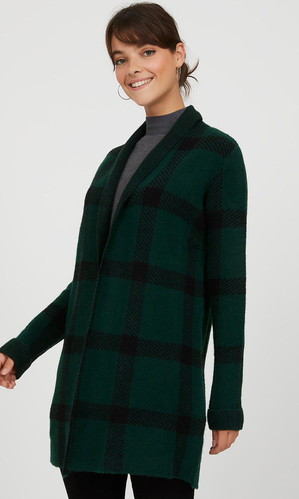 Shawl Collar Plaid Duster