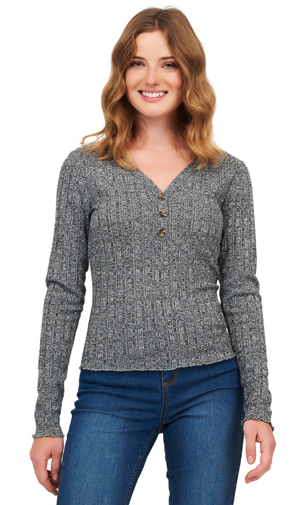 Variegated Ribbed Kinit Sweater