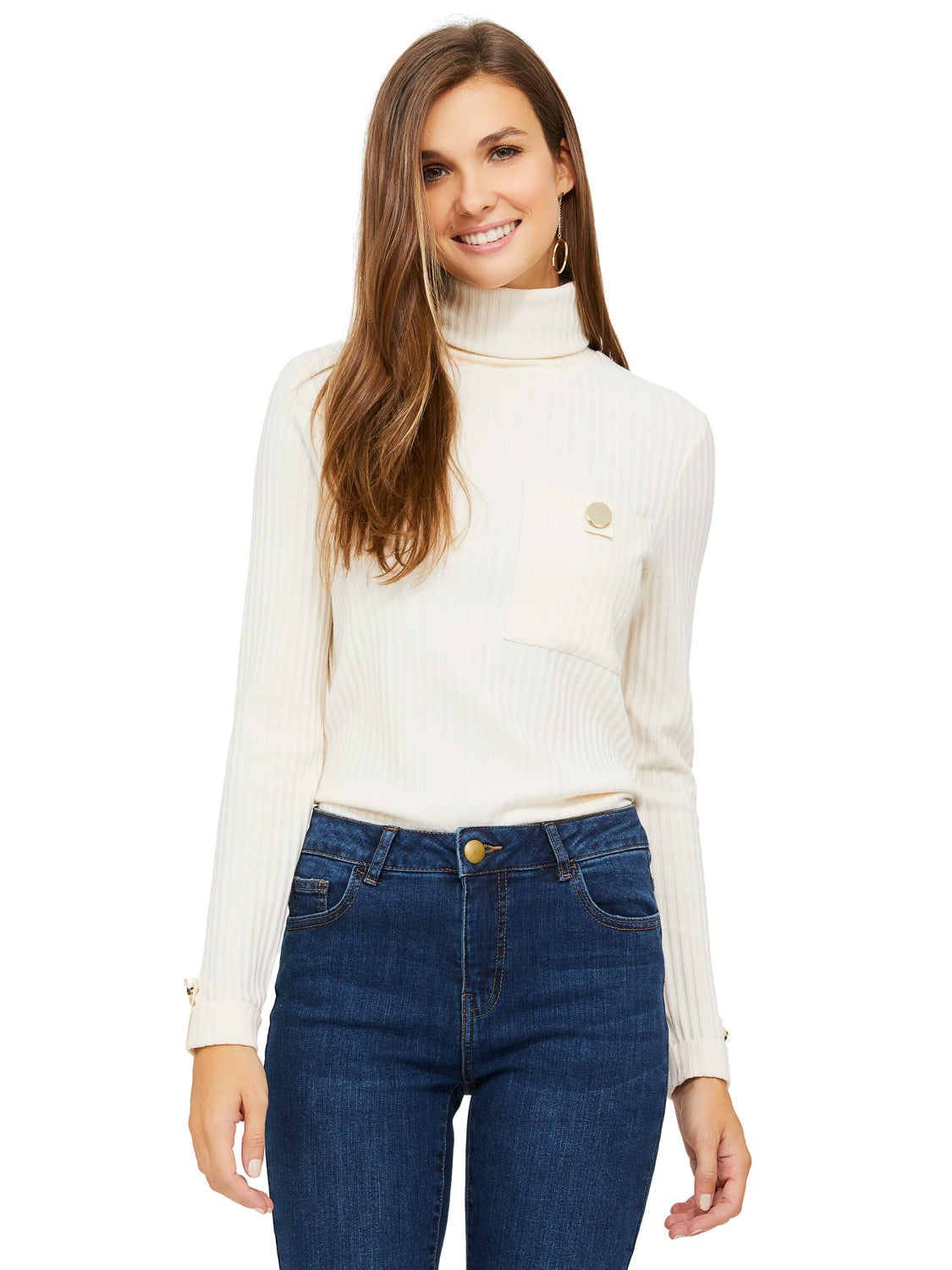 Long Sleeve Sweater Rib Knit Turtleneck Top