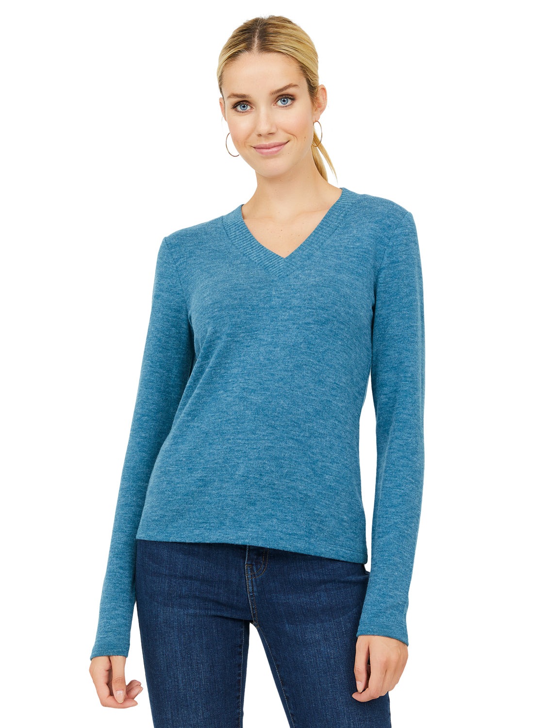 Long Sleeve Mélange V-Neck Sweater