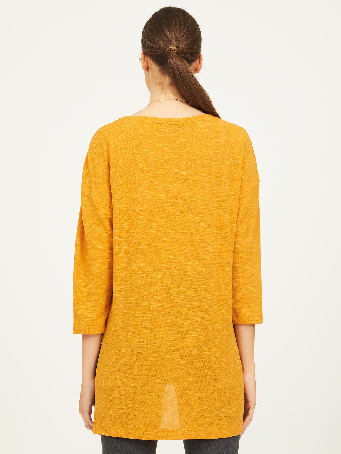 ¾ Dolman Sleeve Slub Sweater Knit
