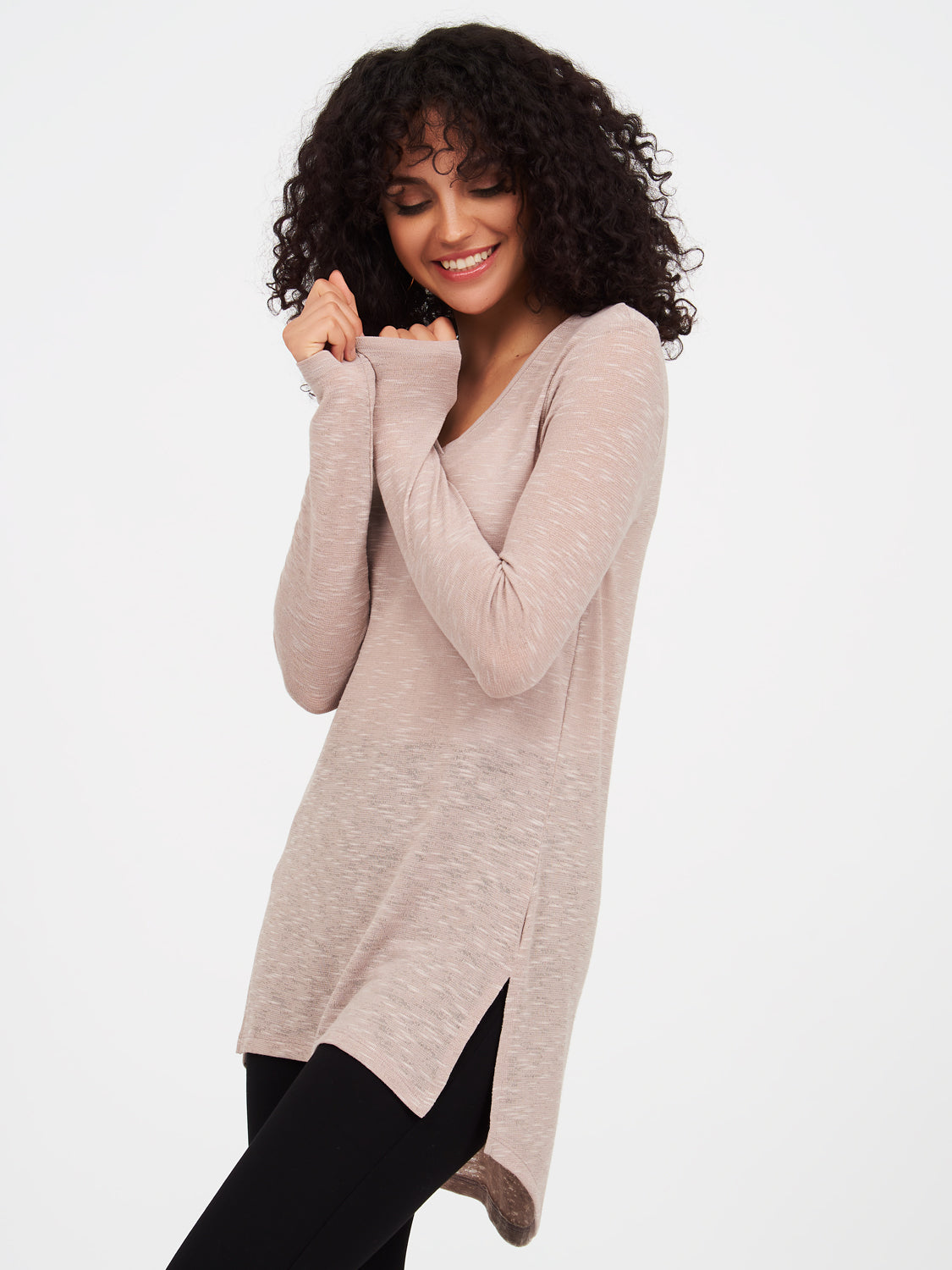 Long Sleeve Slub Sweater Knit Tunic Top