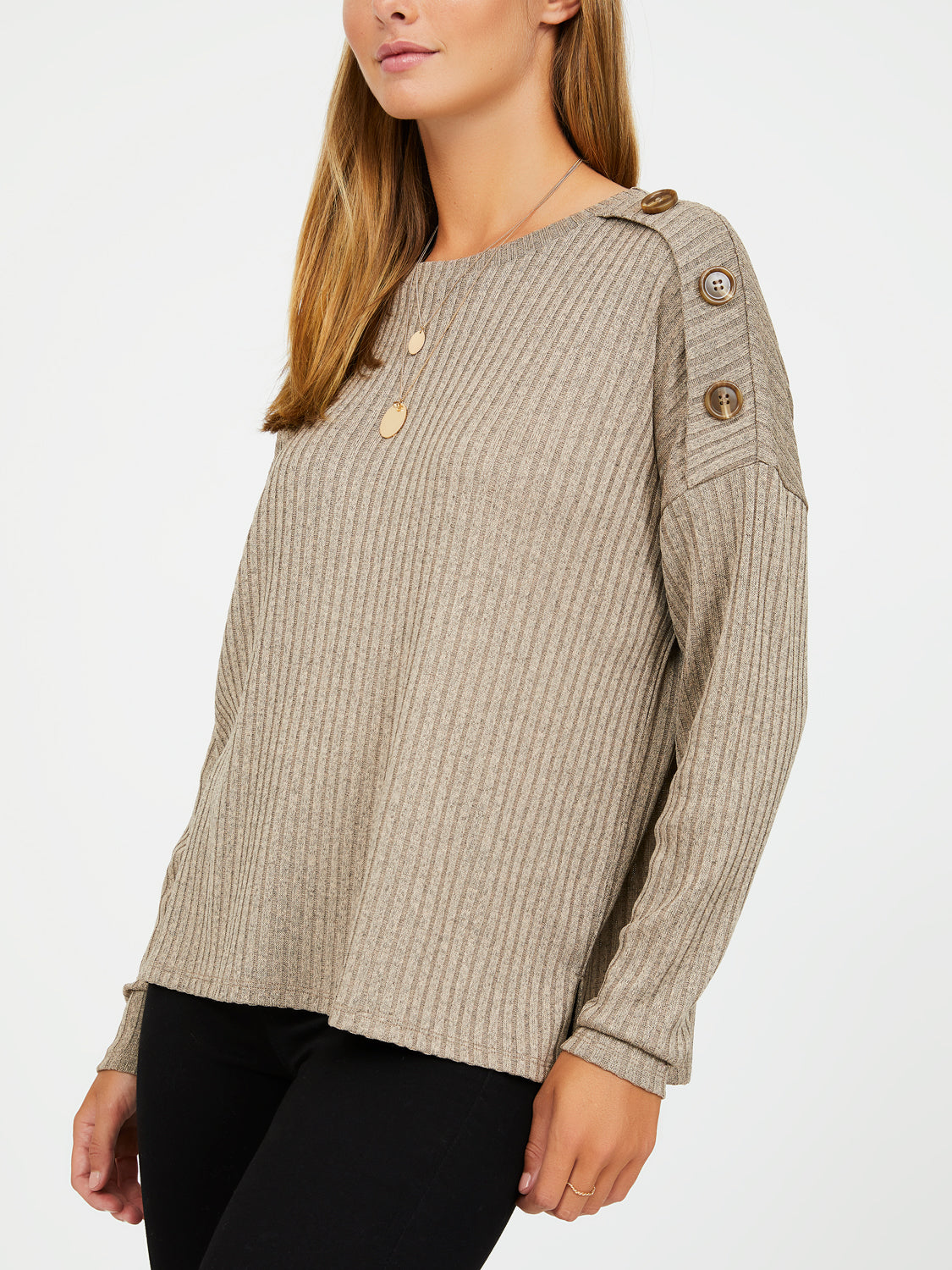 Long Sleeve Mélange Hacci Rib Knit Top