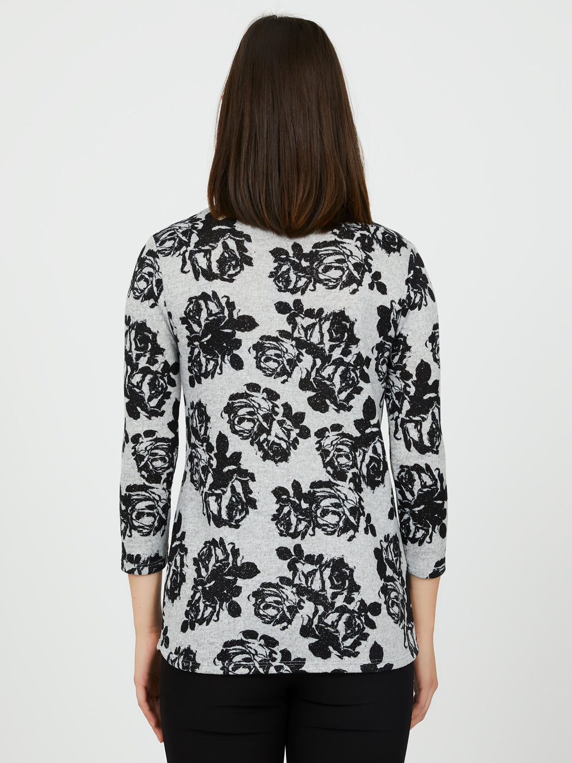 Glitter Print Brushed Hacci ¾ Sleeve Top