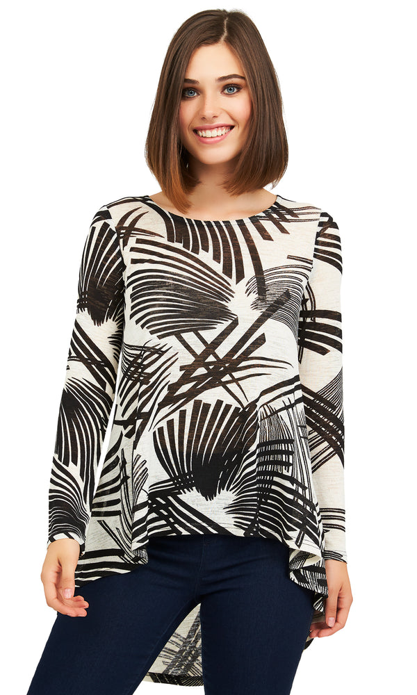 Printed Slub Knit Sweater