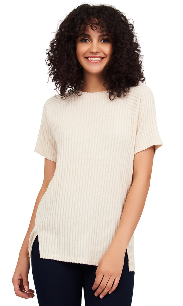 Short Sleeve Ribbed Hacci Tee