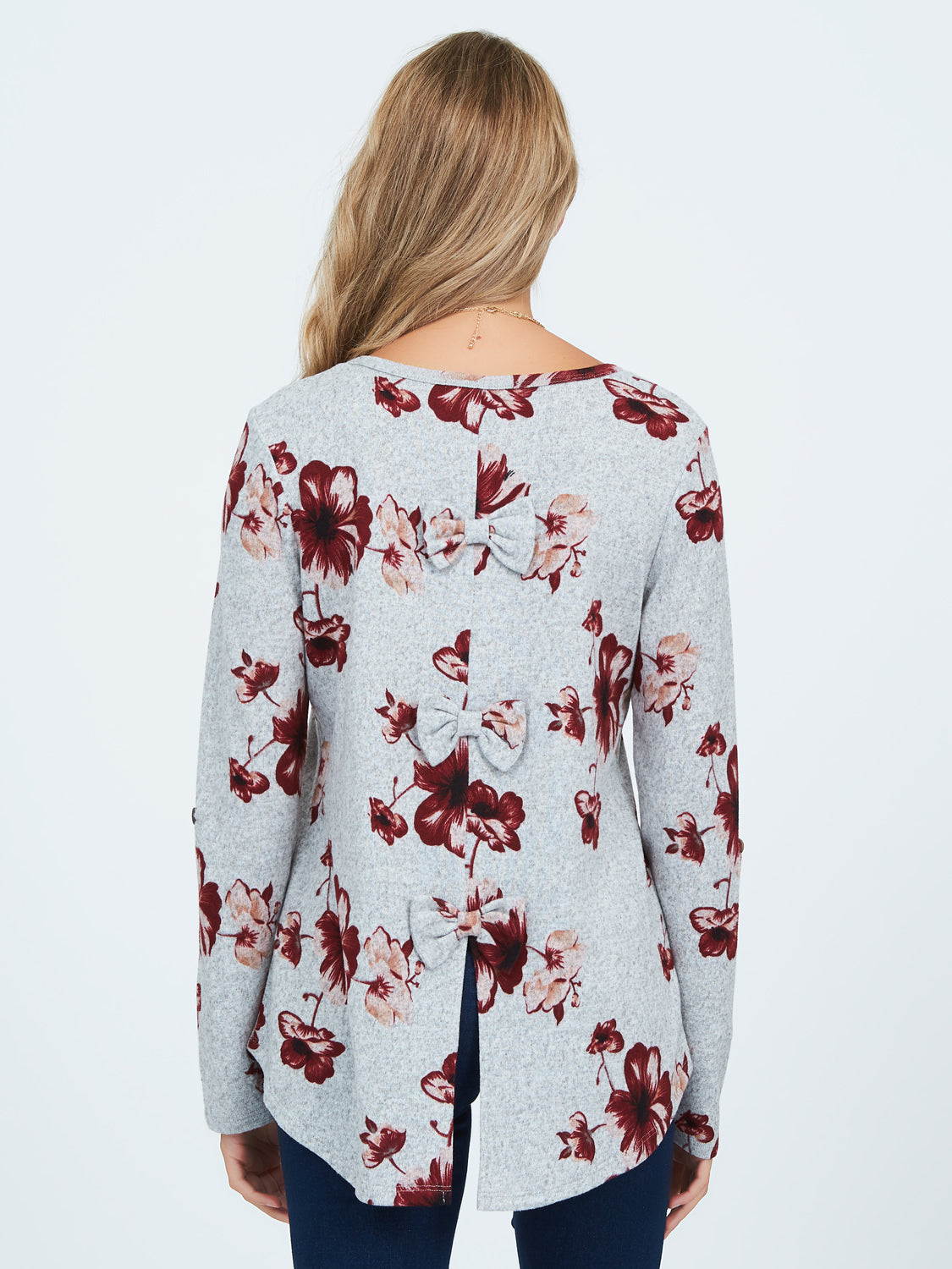 Floral Print Long Sleeve Brushed Hacci Top