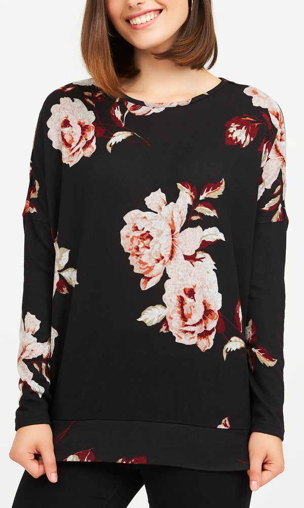 Printed Long Sleeve Brushed Hacci Top