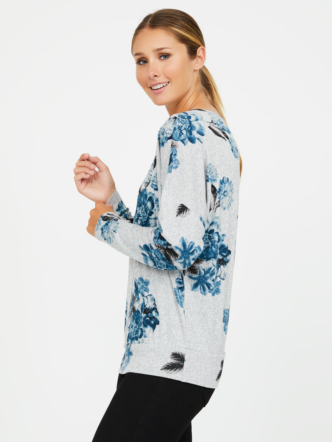 Long Sleeve Floral Hacci Top