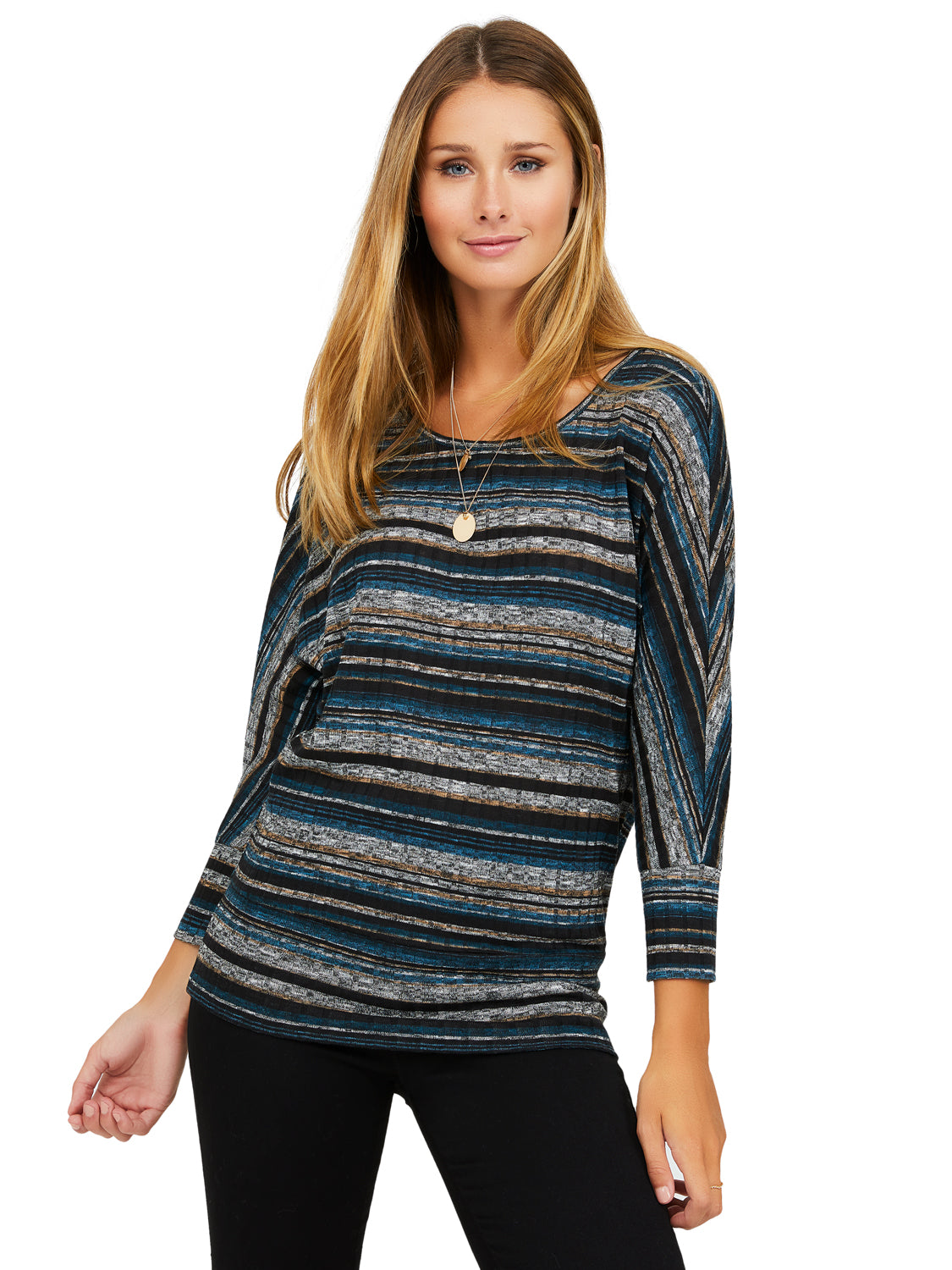 Striped ¾ Dolman Sleeve Hacci Top