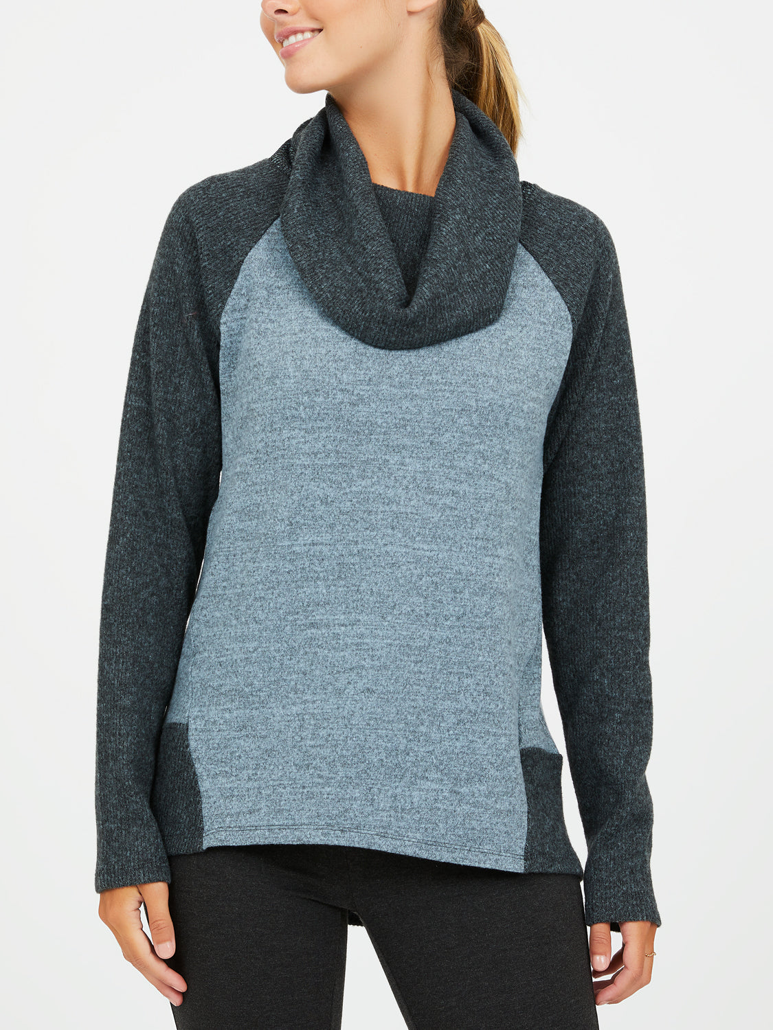 Mélange Knit Cowl Neck Top