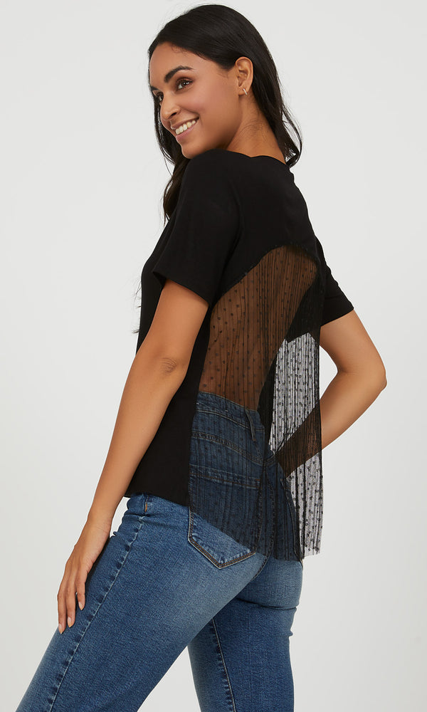 Top with Pleated Swiss Dot Mesh Back