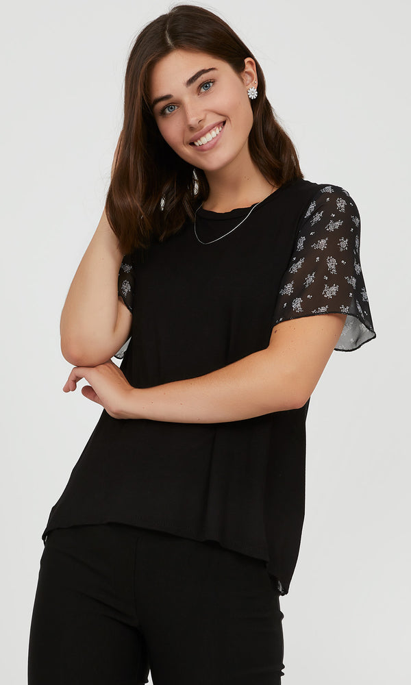 Printed Chiffon Sleeve Top