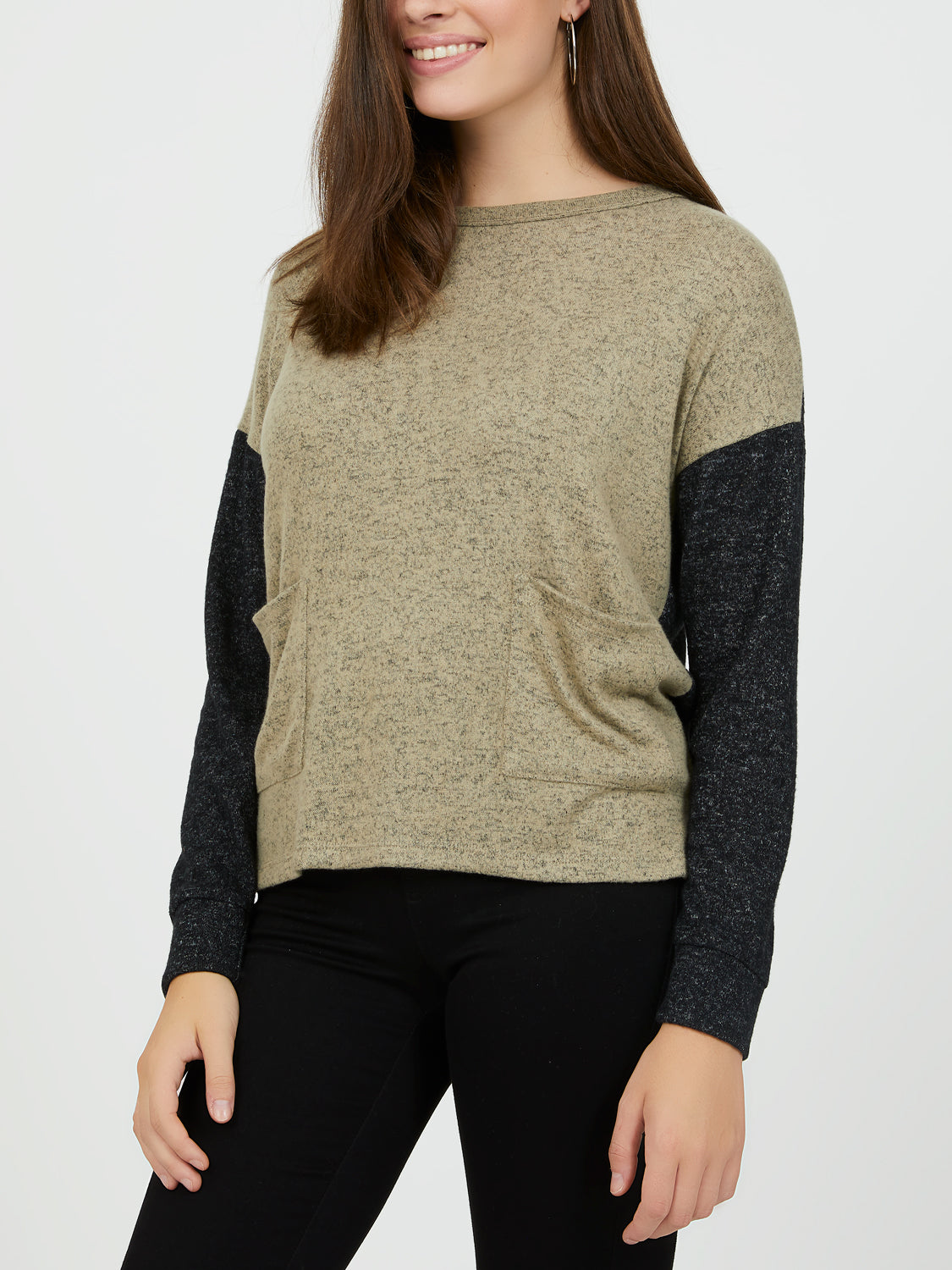 Long Sleeve Mélange Brushed Hacci Top