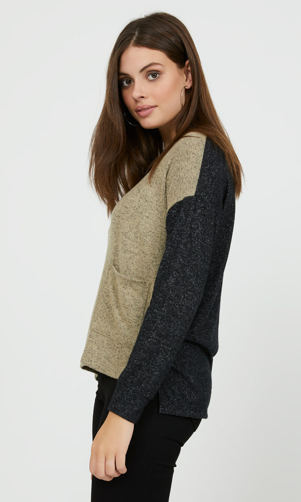 Long Sleeve Colour Block Top